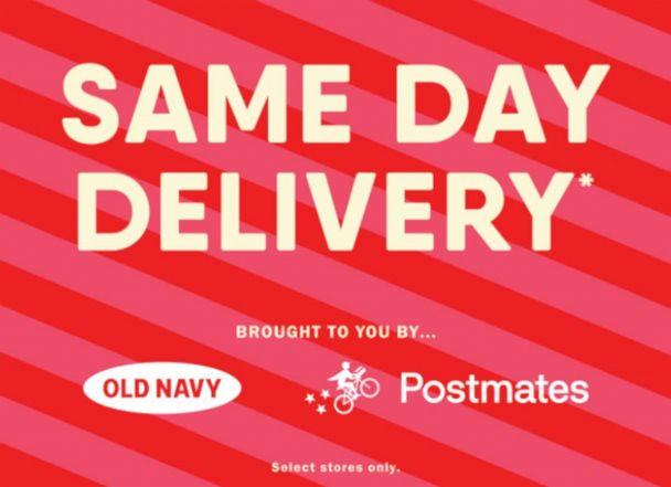 PHOTO: Clothing brand, Old Navy teams up with online delivery service, Postmates for on-demand gift delivery through December 2019. (Old Navy/Postmates)