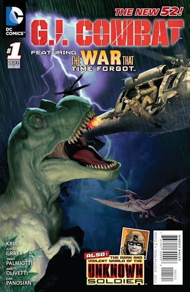 "This image provided by DC Comics shows a variation of the cover of the first issue of G.I. Combat. More than eight months after upending its classic superheroes and ongoing titles, DC Entertainment is bringing more titles to readers this week, including a contemporary take on its classic war comic ""G.I. Combat."" The book is one of six new titles hitting shelves Wednesday that include new takes on the Justice Society, ""Dial H For Hero"" and heroines Power Girl and Huntress, among others. (AP Photo/DC Comics)"