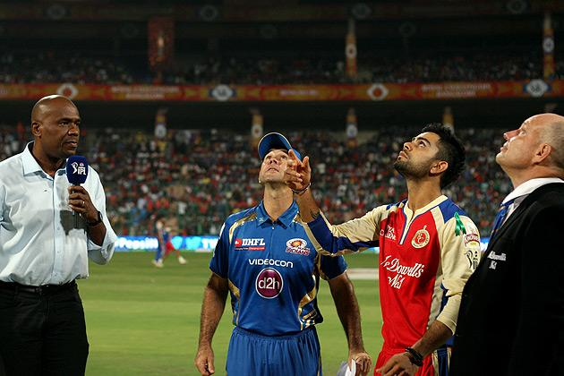 Captains Ricky Ponting and Virat Kohli during the coin-toss before match 2 of of the Pepsi Indian Premier League between The Royal Challengers Bangalore and The Mumbai Indians held at the M. Chinnaswamy Stadium, Bengaluru on the 4th April 2013. Photo by Jacques Rossouw/IPL/SPORTZPICS  ..Use of this image is subject to the terms and conditions as outlined by the BCCI. These terms can be found by following this link:..https://ec.yimg.com/ec?url=http%3a%2f%2fwww.sportzpics.co.za%2fimage%2fI0000SoRagM2cIEc&t=1506418513&sig=140GKHL8IioeDzf_WcTQpg--~D