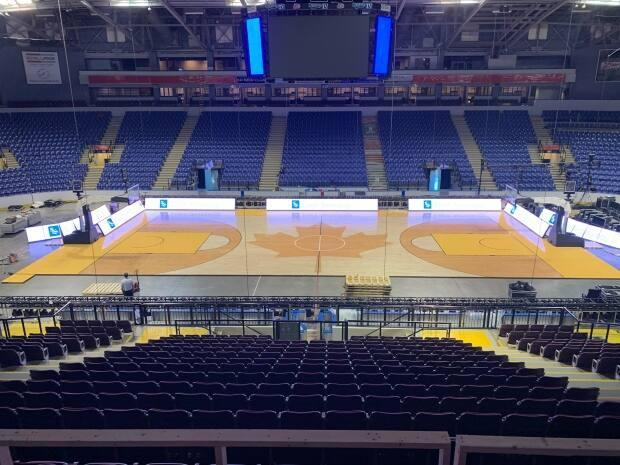 The court of the Save-On-Foods Memorial Centre, located in Victoria, which will play host to a last-chance Olympic basketball qualifer that begins on Tuesday. (Submitted by Nick Blasko - image credit)