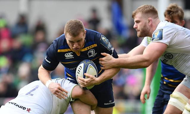 Action from Leinster's 30-19 victory over Saracens in the European Rugby Champions Cup quarter-final in<br>Dublin.