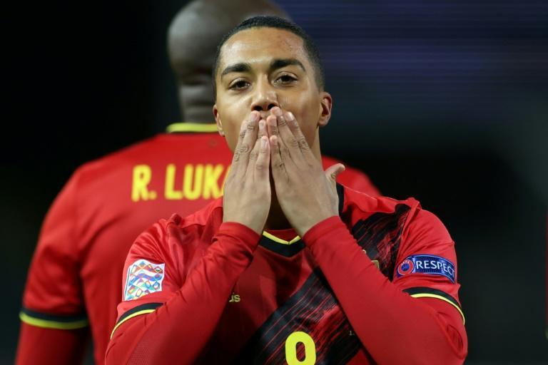 Sealed with a kiss: Youri Tielemans opened the scoring for Belgium against England