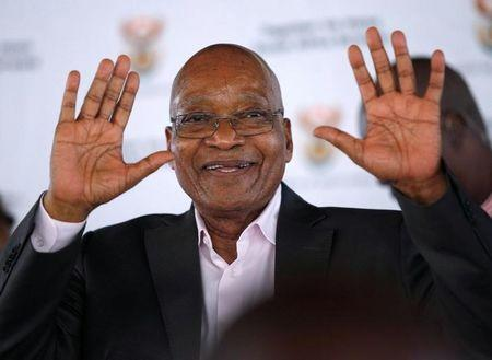 South Africa's President Zuma greets supporters during a rally following the launch of a social housing project in Pietermaritzburg