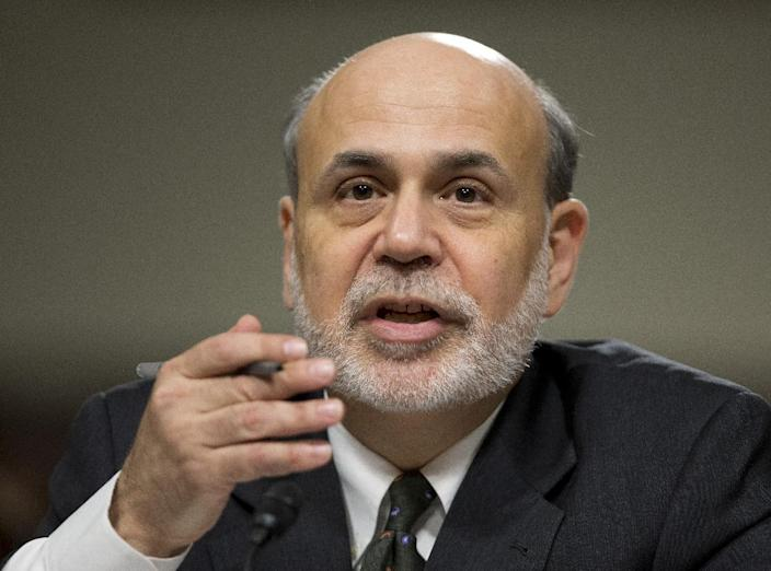 """Federal Reserve Chairman Ben Bernanke testifies on Capitol Hill in Washington, Wednesday, May 22, 2013, before the Joint Economic Committee hearing on """"The Economic Outlook"""" . Bernanke told Congress Wednesday that the U.S. job market remains weak and that it is too soon for the Federal Reserve to end its extraordinary stimulus programs. (AP Photo/Manuel Balce Ceneta)"""