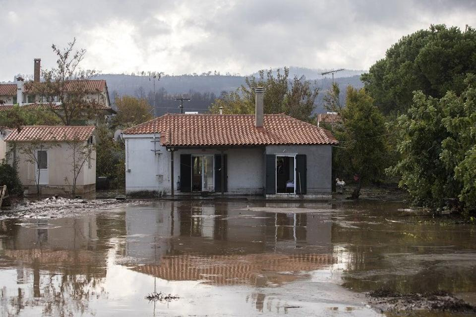 Evia has now been hit by both floods and fires  (Anadolu Agency via Getty Images)