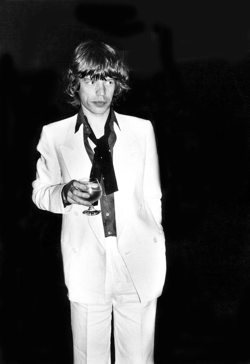 <p>Mick Jagger at Studio 54 for Bianca Jagger's birthday party in May 1977.</p>
