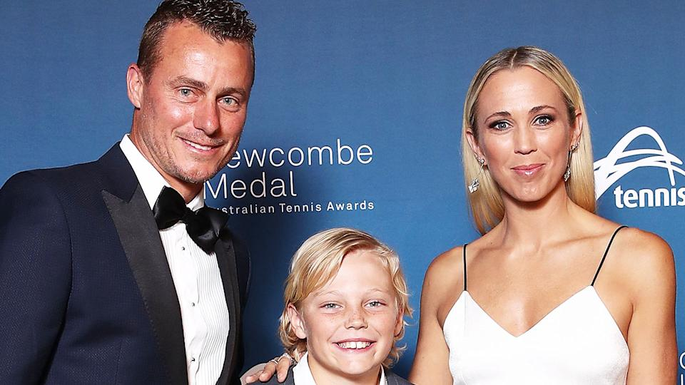 Lleyton Hewitt, pictured here with son Cruz and wife Bec Hewitt at the Newcombe Medal in 2018.