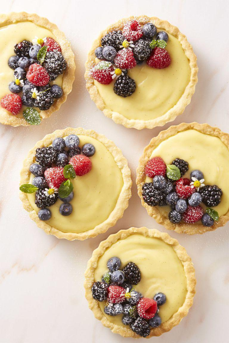 "<p>With these sweet tarts, you won't have to worry about slicing and serving your masterpiece.</p><p><em><a href=""https://www.goodhousekeeping.com/food-recipes/dessert/a43667/very-berry-cream-tartlets-recipe/"" rel=""nofollow noopener"" target=""_blank"" data-ylk=""slk:Get the recipe for Very Berry Cream Tartlets »"" class=""link rapid-noclick-resp"">Get the recipe for Very Berry Cream Tartlets »</a></em></p>"