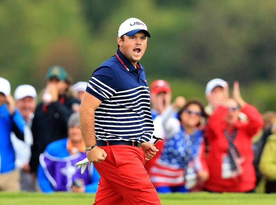 Patrick Reed reacts during the singles matches on day three of the 40th Ryder Cup at Gleneagles (Lynne Cameron/PA) (PA Archive)