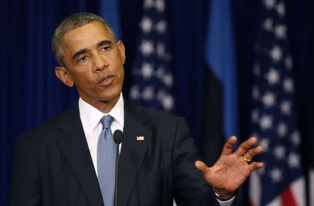 U.S. President Barack Obama talks during a press conference at the Bank of Estonia in Tallinn, Estonia
