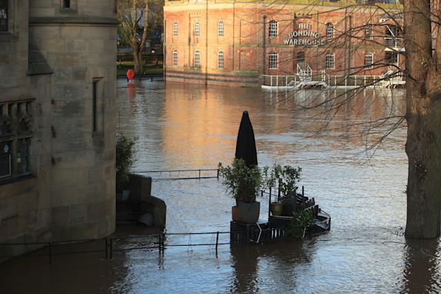 Floodwater surrounds Dyls cafe, York, in the aftermath of Storm Ciara (PA Images via Getty Images)