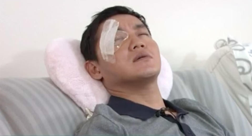 Ivan Jonatahir doesn't know if he will ever see through his eye again. Source: 7 News