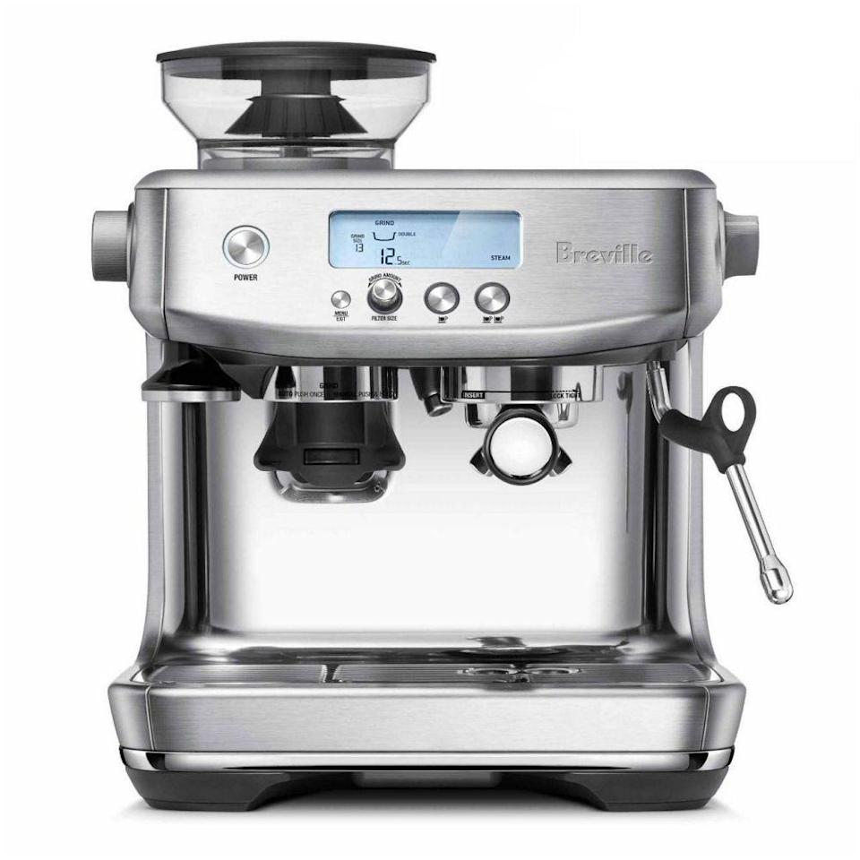 "<p><strong>Breville</strong></p><p>breville.com</p><p><strong>$799.95</strong></p><p><a href=""https://go.redirectingat.com?id=74968X1596630&url=https%3A%2F%2Fwww.breville.com%2Fus%2Fen%2Fproducts%2Fespresso%2Fbes878.html&sref=https%3A%2F%2Fwww.townandcountrymag.com%2Fleisure%2Fdrinks%2Fg26064458%2Fgifts-for-coffee-lovers%2F"" rel=""nofollow noopener"" target=""_blank"" data-ylk=""slk:Shop Now"" class=""link rapid-noclick-resp"">Shop Now</a></p><p>Perfect your ristretto with this powerful espresso machine, complete with a built-in grinder so you get the freshest flavor without breaking out extra equipment and ThermoJet that can bring water up to prime espresso-making temps in 3 seconds to fuel you up even faster. </p>"