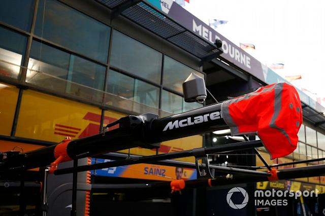 "The McLaren gantry over the pitbox <span class=""copyright"">Andy Hone / Motorsport Images</span>"