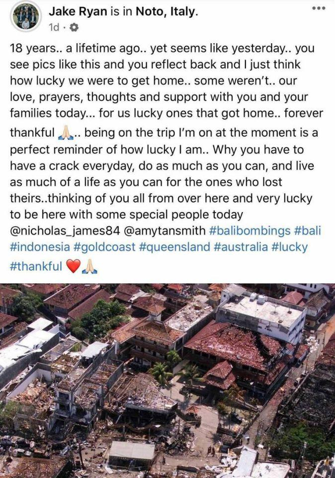 Jake Ryan's post reflecting on the Bali bombings, pictured here on Facebook.