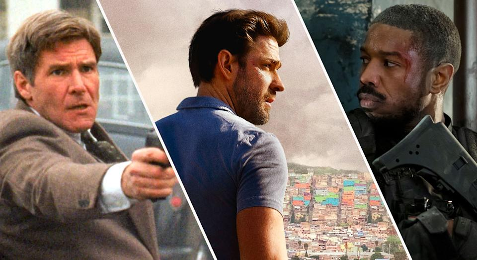 Harrison Ford as Jack Ryan in Patriot Games, John Krasinski in Jack Ryan, and Michael B. Jordan as John Clark in Without Remorse (Paramount/Amazon)