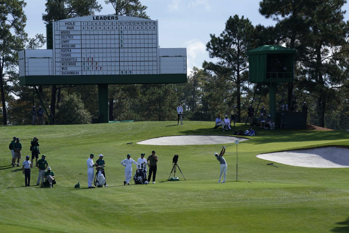 Jason Day, of Australia, tees off on the third hole during the first round of the Masters golf tournament Thursday, Nov. 12, 2020, in Augusta, Ga. (AP Photo/David J. Phillip)
