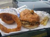 """<p>While Skyway has its fans, Swensons is the more prevalent drive-in chain throughout the Buckeye State. There are 10 locations in the northeast Ohio area and four in Columbus, and they serve up """"hamburgs,"""" potato puffs, onion rings and 17 different flavors of milkshakes, including different variations like coffee, pineapple, blueberry and grape. The highlight is the Galley Boy, a double """"cheeseburg"""" sweetened with brown sugar, topped with not one but <em>two</em> sauces and a salty green olive. This deeply flavorful burg is right up there with <a href=""""https://www.thedailymeal.com/eat/best-burgers-america?referrer=yahoo&category=beauty_food&include_utm=1&utm_medium=referral&utm_source=yahoo&utm_campaign=feed"""" rel=""""nofollow noopener"""" target=""""_blank"""" data-ylk=""""slk:the best burgers in America"""" class=""""link rapid-noclick-resp"""">the best burgers in America</a>.</p>"""
