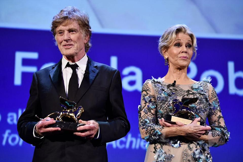 Jane Fonda and Robert Redford star in romantic drama 'Our Souls at Night,' which won the Golden Lions for Lifetime Achievement at the 74th Venice Film Festival. <em>(Photo: Getty)</em>