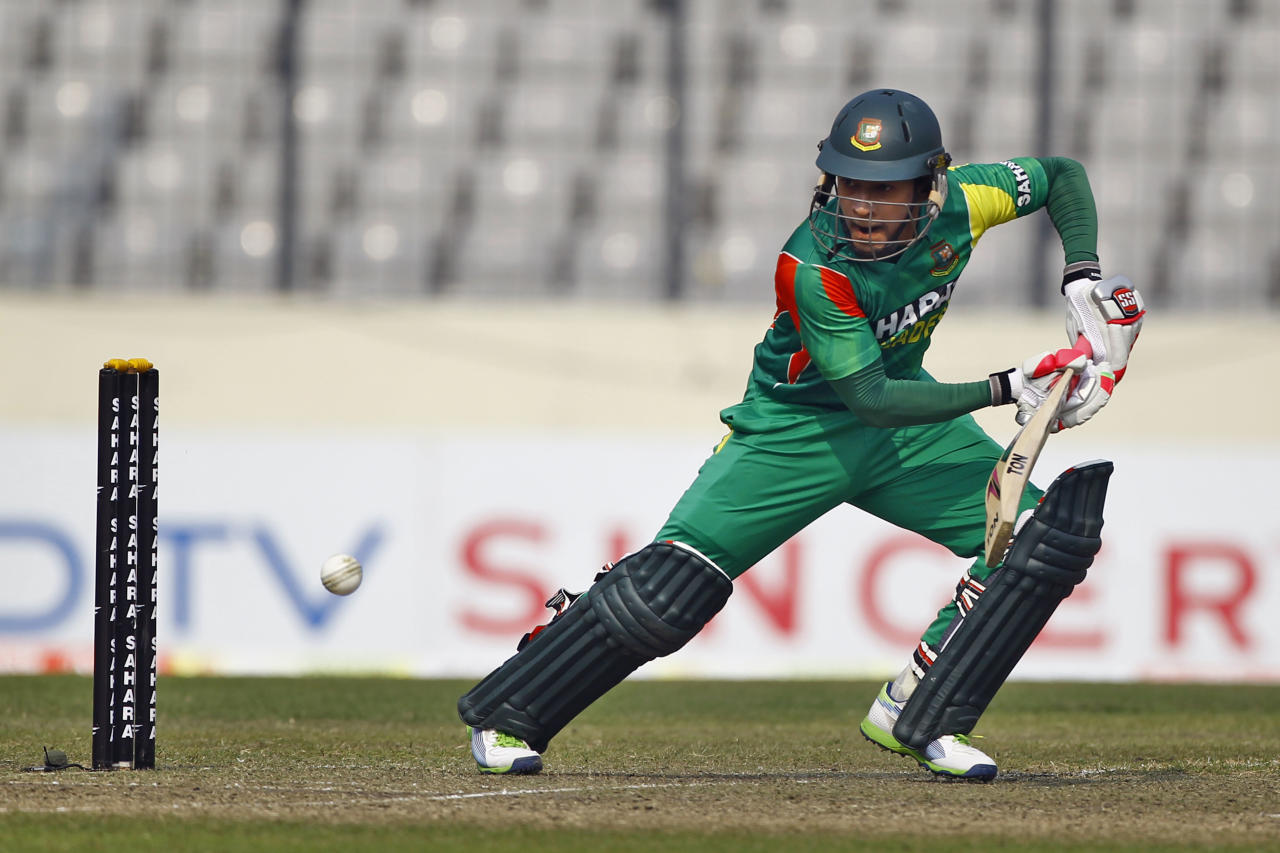Bangladesh's Mushfiqur Rahim plays a shot on the third one day international cricket against Sri Lanka in Dhaka, Bangladesh, Saturday, Feb. 22, 2014. (AP Photo/A.M. Ahad)
