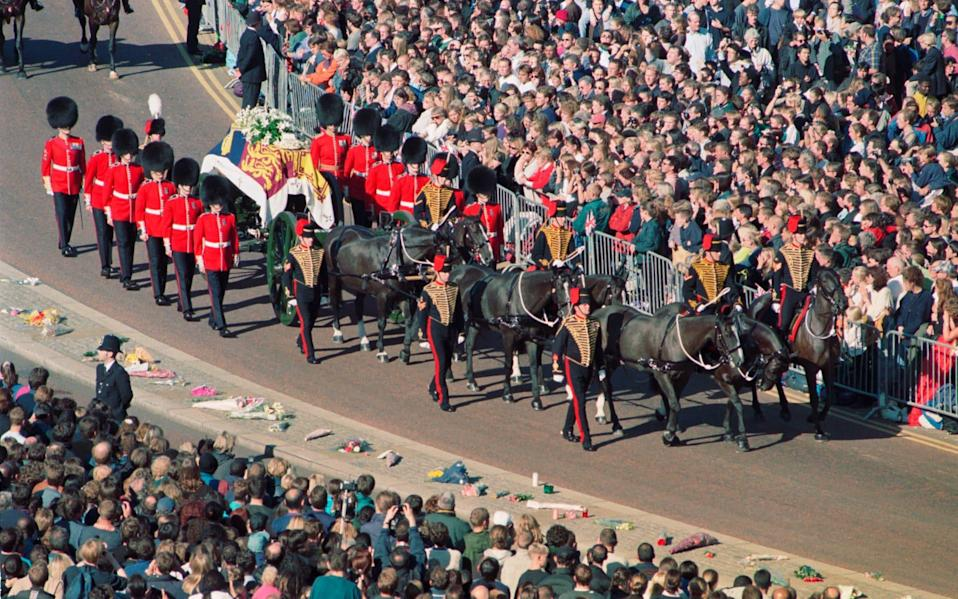 Crowds watch Princess Diana's funeral procession -  PA Archive/ Barry Batchelor