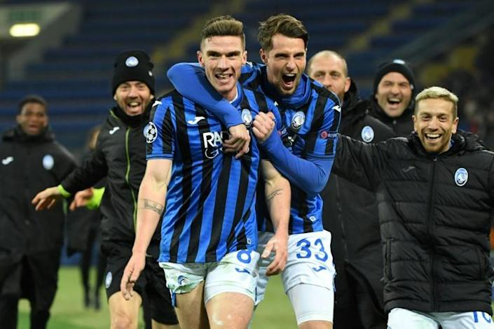 Atalanta are through to the Champions League last 16 on their tournament debut. (AFP Photo/Sergei SUPINSKY)