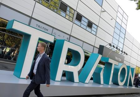 FILE PHOTO: The logo of Volkswagen's truck unit Traton, former Volkswagen Truck & Bus AG, is pictured in Hanover