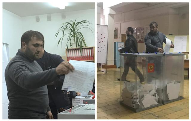<p>A combination picture shows a voter casting a ballot at a polling station number 217 (L) and casting a ballot at a polling station number 216, during the presidential election in Ust-Djeguta, Russia March 18, 2018. The voter declined to comment to Reuters reporter when asked why he was voting a second time, and left the building quickly. (Reuters staff) </p>