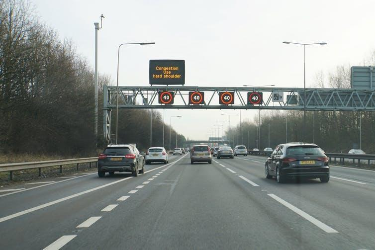 """<span class=""""caption"""">Smart motorways can reduce the speed limit to manage congestion.</span> <span class=""""attribution""""><a class=""""link rapid-noclick-resp"""" href=""""https://www.geograph.org.uk/photo/5251763"""" rel=""""nofollow noopener"""" target=""""_blank"""" data-ylk=""""slk:Bill Boaden"""">Bill Boaden</a>, <a class=""""link rapid-noclick-resp"""" href=""""http://creativecommons.org/licenses/by-sa/4.0/"""" rel=""""nofollow noopener"""" target=""""_blank"""" data-ylk=""""slk:CC BY-SA"""">CC BY-SA</a></span>"""