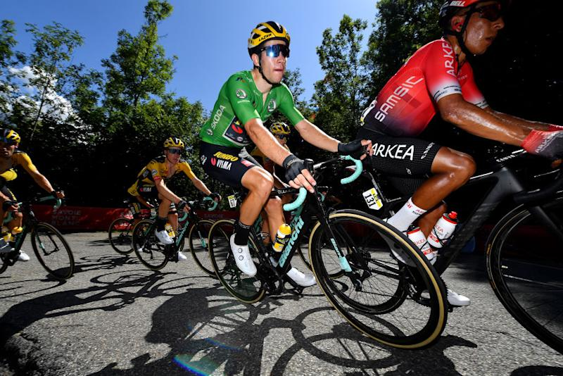 SAINT MARTIN DE BELLEVILLE FRANCE AUGUST 14 Wout Van Aert of Belgium and Team Jumbo Visma Greeen Points Jersey Nairo Alexander Quintana Rojas of Colombia and Team Arkea Samsic Steven Kruijswijk of The Netherlands and Team Jumbo Visma during the 72nd Criterium du Dauphine 2020 Stage 3 a 157km stage from Corenc to Saint Martin de Belleville 1419m dauphine Dauphin on August 14 2020 in Saint Martin de Belleville France Photo by Justin SetterfieldGetty Images