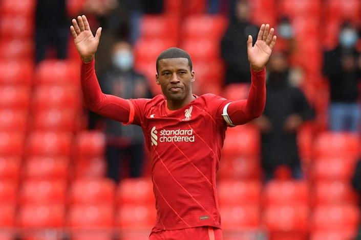 Waving goodbye: Georginio Wijnaldum played his final game for Liverpool in Sunday's 2-0 win over Crystal Palace