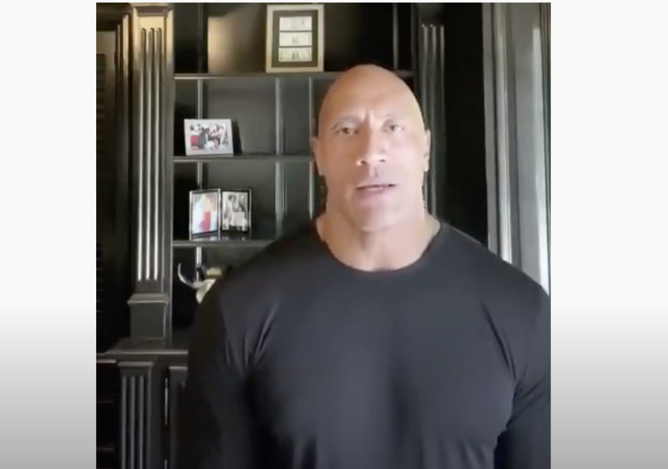 "<p>影星巨石強森週四於個人IG帳號PO出自錄的一段影片 | Movie star and former wrestler Dwayne ""The Rock"" Johnson has released a video on Thursday. (圖