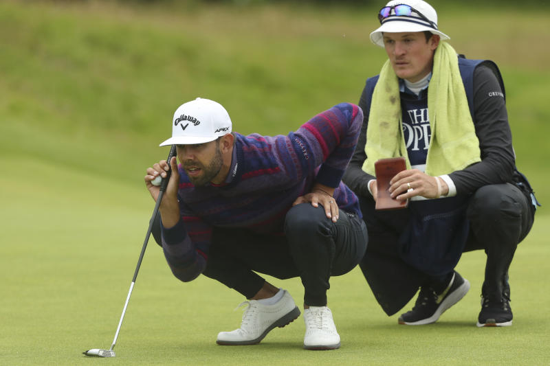 FILE - In this July 21, 2019, file photo, South Africa's Erik van Rooyen looks at the line of his putt on the fourth green during the final round of the British Open Golf Championships at Royal Portrush in Northern Ireland. Van Rooyen needs a big finish to his year to crack the top 50 in the world. (AP Photo/Jon Super, File)