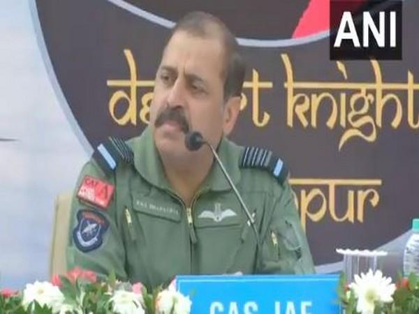 Indian Air Force Chief (IAF) Air Chief Marshal RKS Bhadauria during a press conference in Jodhpur on Saturday. (Photo/ANI)