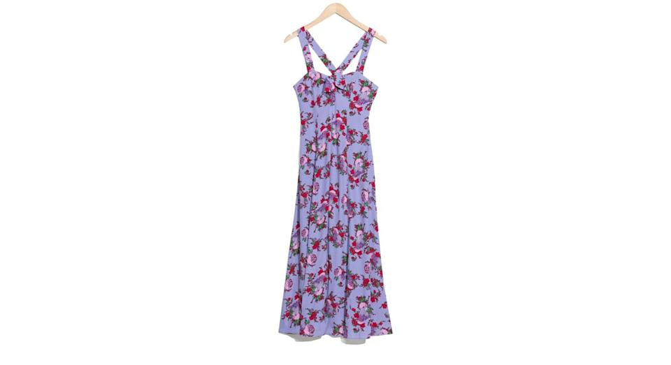"""<p>& Other Stories have come through with the amazing summer dresses this season. How perfect would this lilac floral number be for a sumer wedding?<br><a rel=""""nofollow noopener"""" href=""""https://www.stories.com/en_gbp/sale/all-sale/product.floral-sweetheart-midi-dress-purple-floral.0607466001.html"""" target=""""_blank"""" data-ylk=""""slk:Buy here."""" class=""""link rapid-noclick-resp"""">Buy here.</a> </p>"""