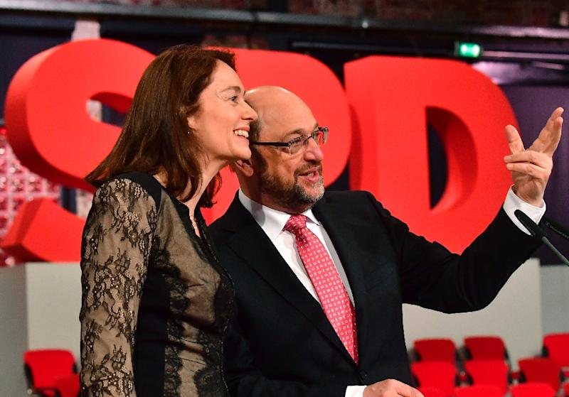 Martin Schulz, seen here with SPD secretary general Katarina Barley, has quickly become something of a social media phenomenon, inspiring a raft of affectionate hashtags among fired-up fans  (AFP Photo/John MACDOUGALL)