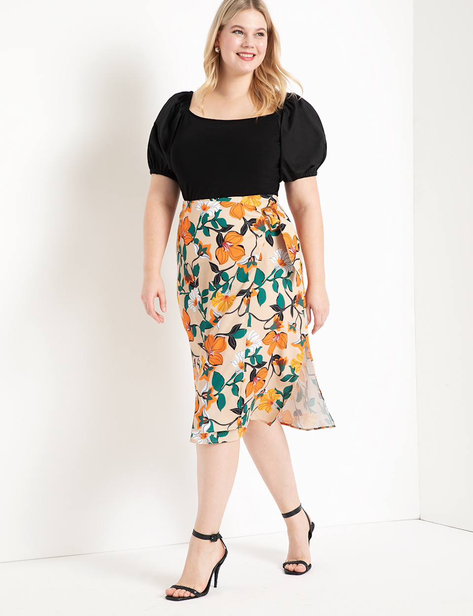 """<br> <br> <strong>Eloquii</strong> Buckle Detail Midi Skirt, $, available at <a href=""""https://go.skimresources.com/?id=30283X879131&url=https%3A%2F%2Fwww.eloquii.com%2Fbuckle-detail-midi-skirt%2F1206008.html%3Fdwvar_1206008_colorCode%3D16"""" rel=""""nofollow noopener"""" target=""""_blank"""" data-ylk=""""slk:Eloquii"""" class=""""link rapid-noclick-resp"""">Eloquii</a>"""