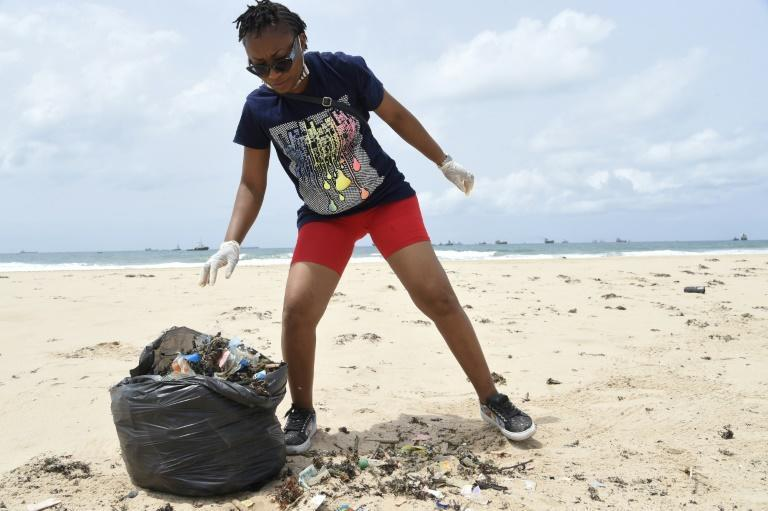 Litter in Lagos gets whisked away by the rains and waterways and ends up forming piles of trash on the beaches