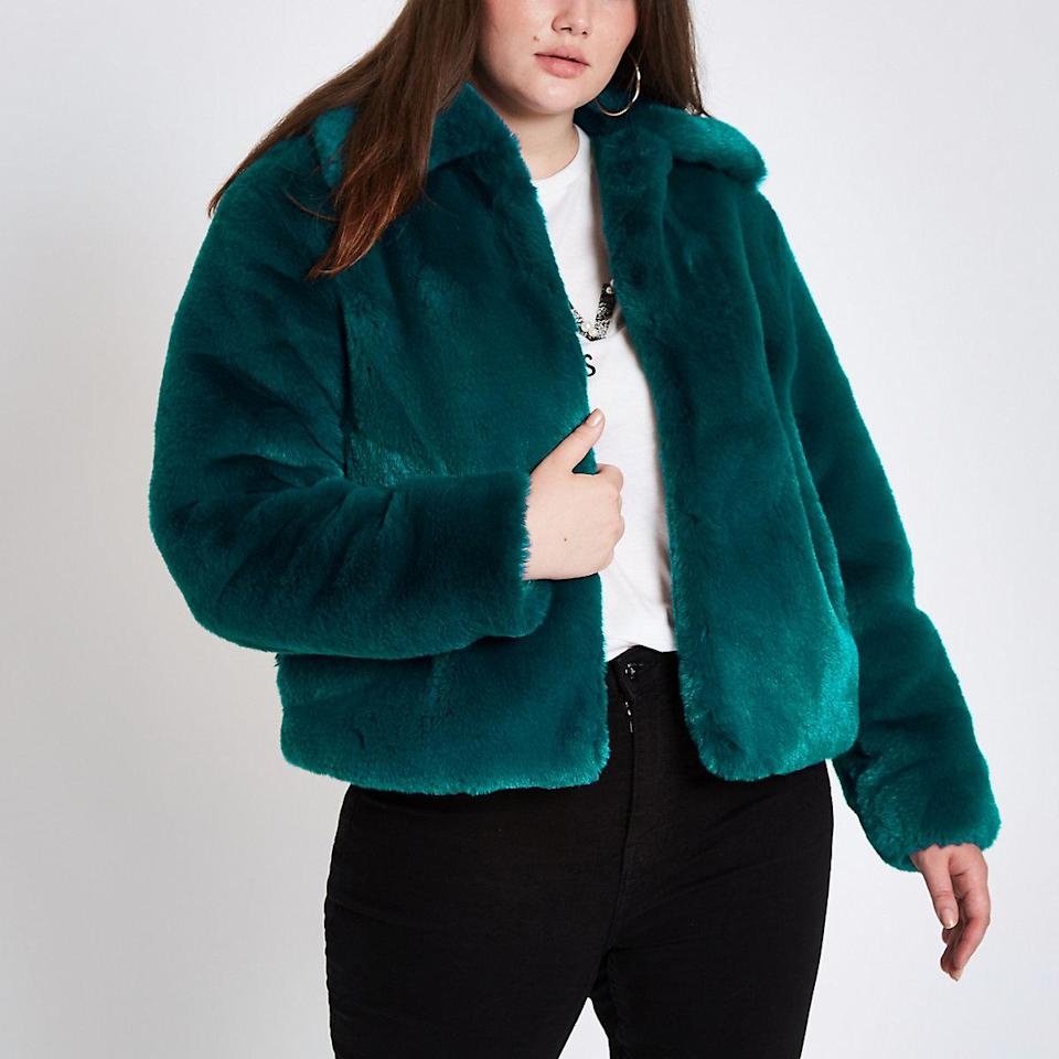 "<p>This sultry teal faux fur bomber is the perfect addition to any skinny jean and bootie combo this winter!<br><a href=""https://go.skimresources.com?id=125078X1586062&xs=1&url=https%3A%2F%2Fus.riverisland.com%2Fp%2Fplus-teal-blue-plush-faux-fur-coat-724196"" rel=""nofollow noopener"" target=""_blank"" data-ylk=""slk:Shop it:"" class=""link rapid-noclick-resp""><strong>Shop it:</strong></a> Plus Teal Blue Plush Faux Fur Coat, $170, <a href=""https://go.skimresources.com?id=125078X1586062&xs=1&url=https%3A%2F%2Fus.riverisland.com%2Fp%2Fplus-teal-blue-plush-faux-fur-coat-724196"" rel=""nofollow noopener"" target=""_blank"" data-ylk=""slk:riverisland.com"" class=""link rapid-noclick-resp"">riverisland.com</a> </p>"