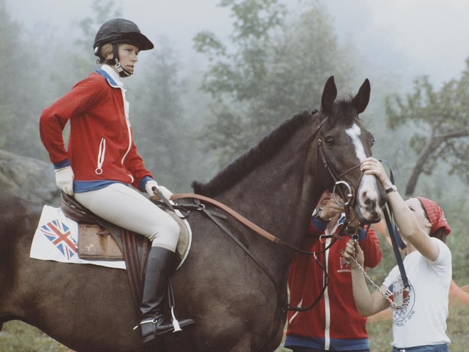 Princess Anne rides Goodwill during the 1976 Olympics (Getty Images)