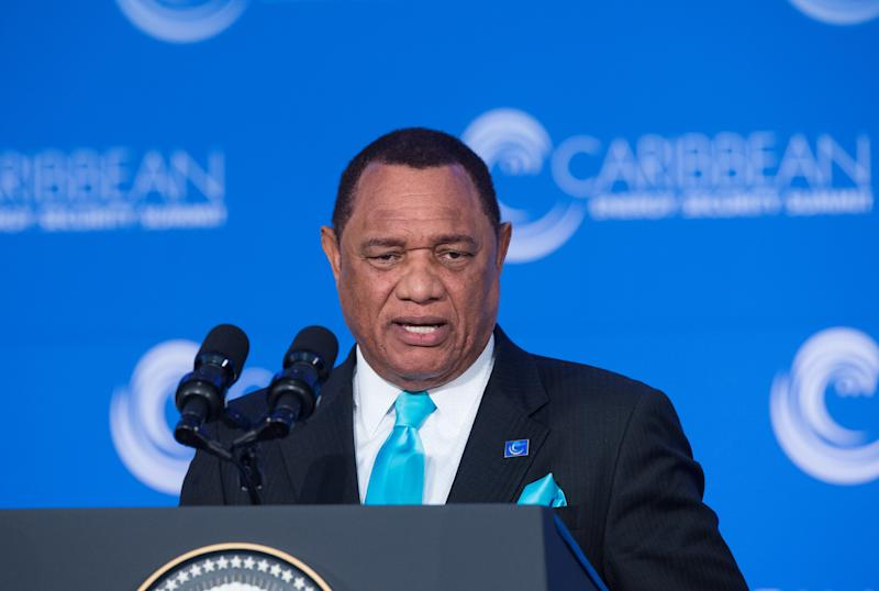Bahamian Prime Minister Perry Christie addresses the first Caribbean Energy Security Summit in Washington, DC on January 26, 2015 (AFP Photo/Nicholas Kamm)