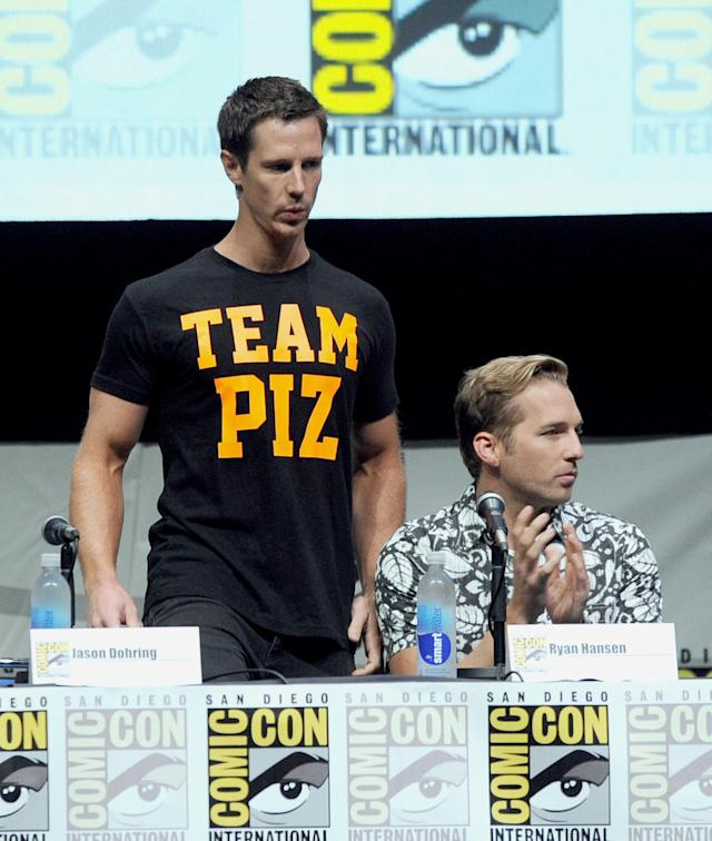 "SAN DIEGO, CA - JULY 19: Actors Jason Dohring (L) and Ryan Hansen speak onstage at the ""Veronica Mars"" special video presentation and Q&A during Comic-Con International 2013 at San Diego Convention Center on July 19, 2013 in San Diego, California. (Photo by Kevin Winter/Getty Images)"
