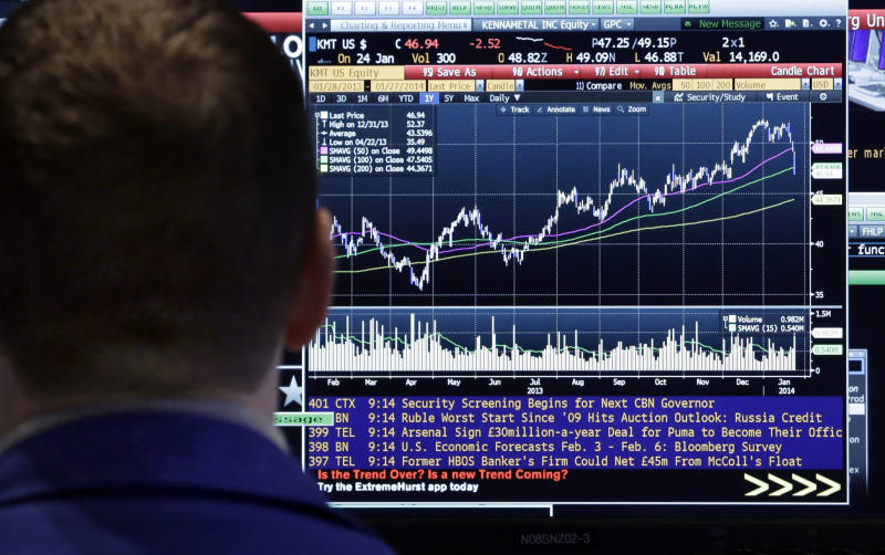A specialist on the floor of the New York Stock Exchange checks a screen, Monday, Jan. 27, 2014. Stocks are mostly higher on Wall Street as investors shrug off worries about emerging markets that tanked the market last week. (AP Photo/Richard Drew)