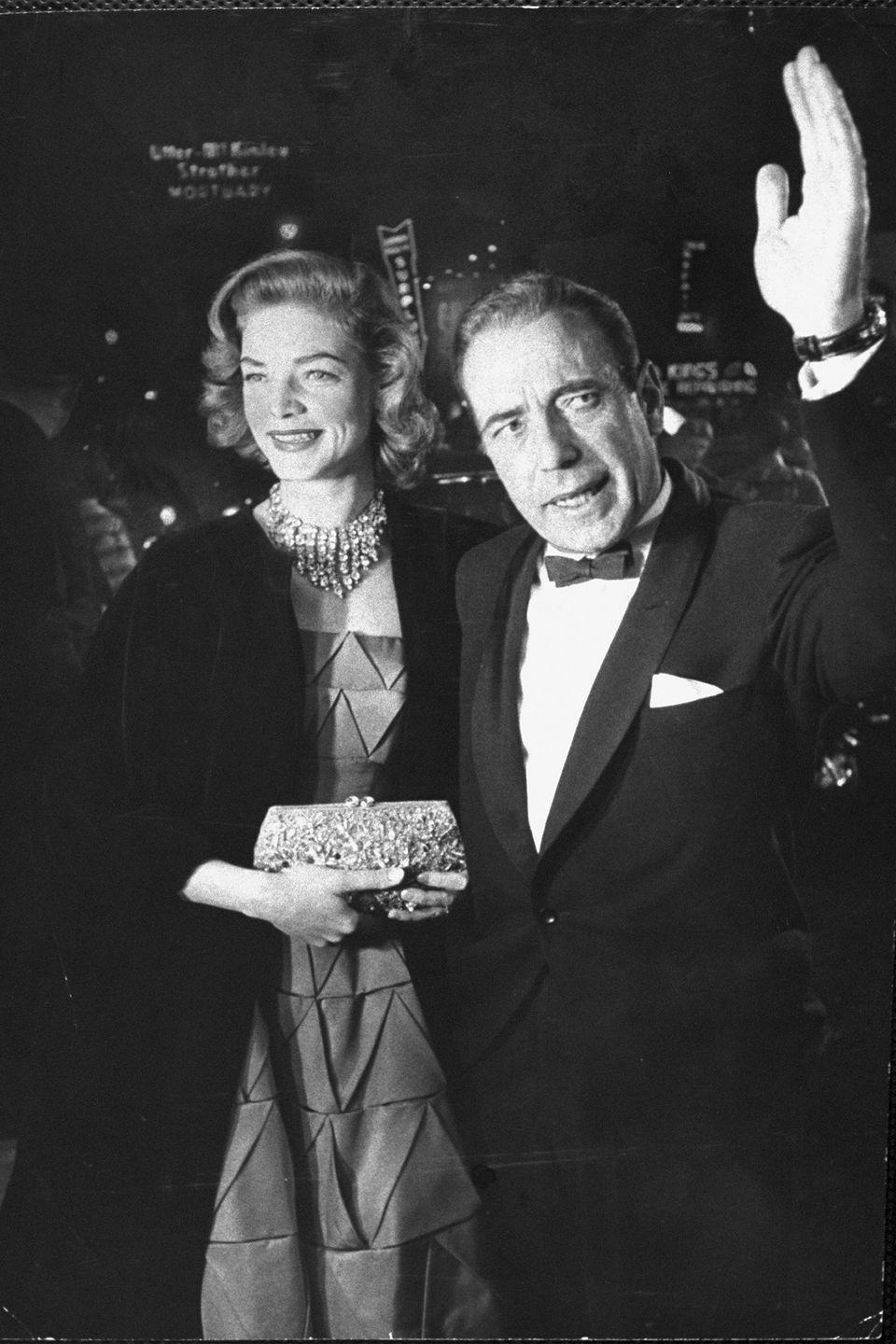 <p>Lauren Bacall is an Old Hollywood icon, from her coveted fashion sense to her hairstyles, and even relationships, arriving on the arm of Humphrey Bogart for the 1955 Oscars. </p>