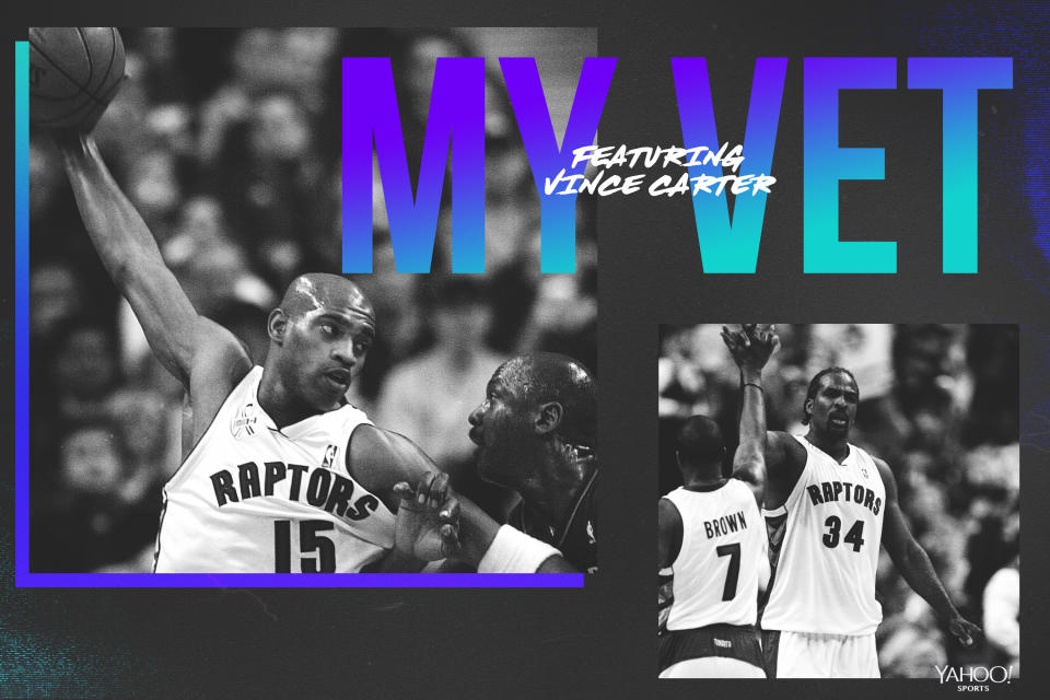 Vince carter pays tribute to his Raptors veterans, including Charles Oakley and Dee Brown. (Getty Images/Graphics by Yahoo Sports' Amber Matsumoto)