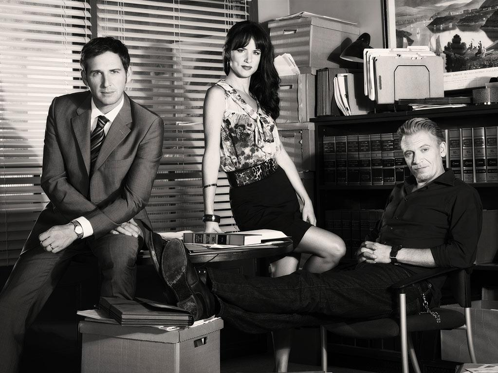 """Josh Lucas as Mitch McDeere, Juliette Lewis as Tammy Hemphill, and Callum Keith Rennie as Ray McDeere in """"The Firm."""""""