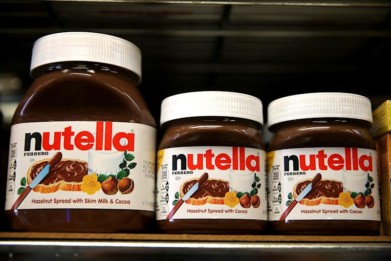 Jars of Nutella are displayed on a shelf at a market in San Francisco, California, on August 18, 2014 (AFP Photo/Justin Sullivan)