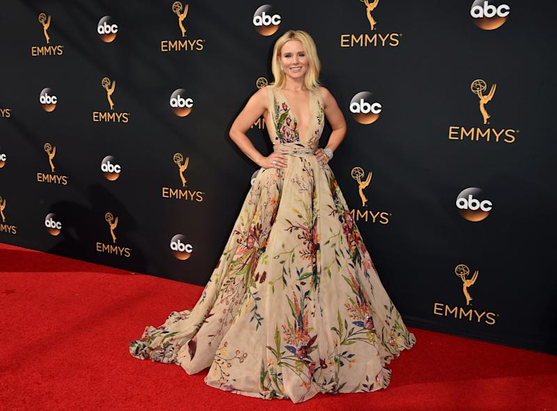 Actress Kristen Bell arrives at the 68th Annual Primetime Emmy Awards at Microsoft Theater on Sept. 18, 2016, in Los Angeles.