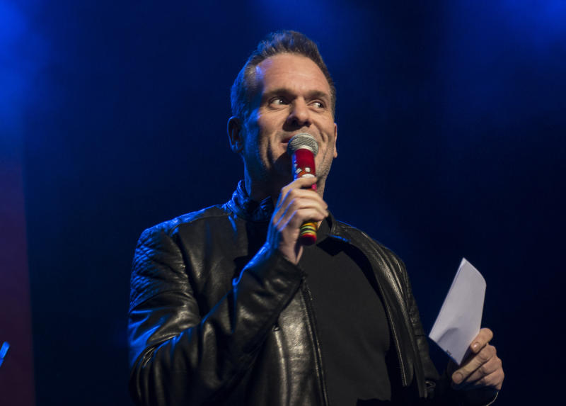 LONDON, ENGLAND - FEBRUARY 24: Passport To Brits Week: Chris Moyles speaks on February 24, 2016 in London, United Kingdom. (Photo by Nick Pickles/Getty Images)