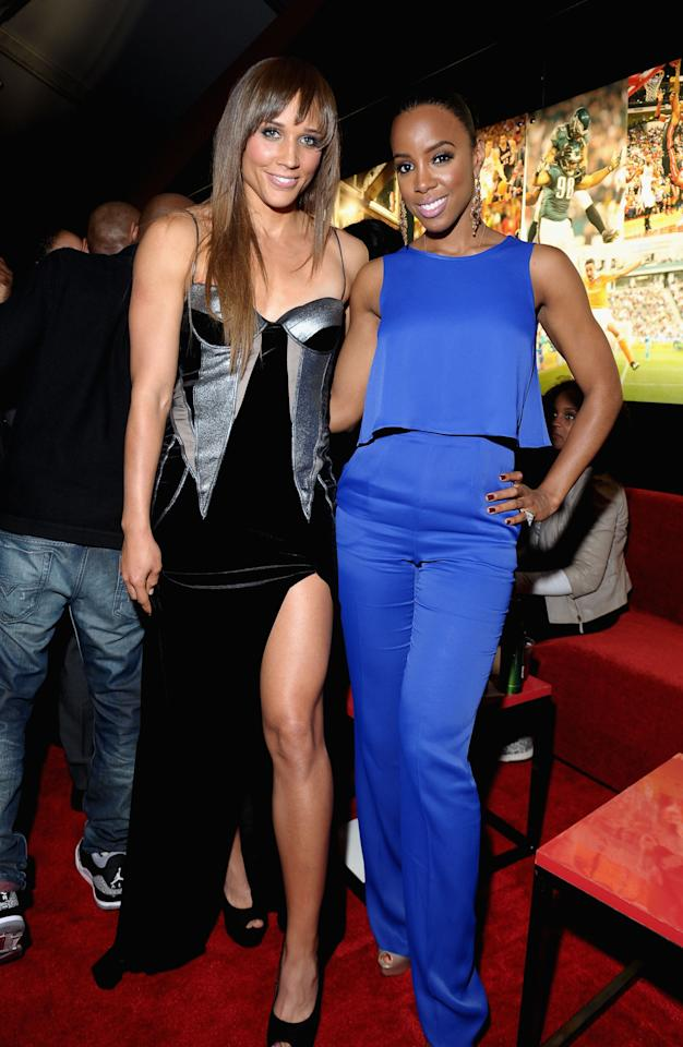 "NEW ORLEANS, LA - FEBRUARY 01:  Olympian Lolo Jones and Singer Kelly Rowland attend ESPN The Magazine's ""NEXT"" Event at Tad Gormley Stadium on February 1, 2013 in New Orleans, Louisiana.  (Photo by Michael Loccisano/Getty Images for ESPN)"